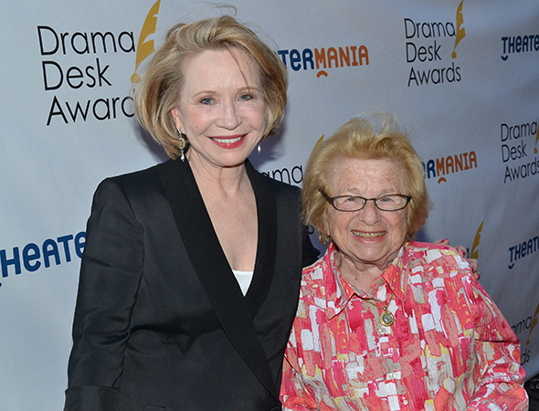 <p>Debra Jo Rupp, Outstanding Solo Performance nominee for <em>Becoming Dr. Ruth</em>, with the real Dr. Ruth Westheimer.</p><br />(© David Gordon)