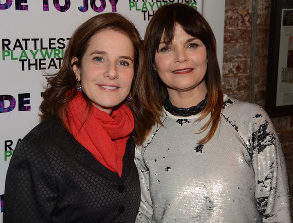 <p>Debra Winger catches up with <em>Ode to Joy</em> star Kathryn Erbe.</p><br />(© Nessie Nankivell)