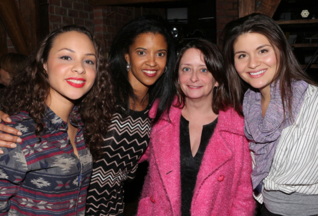 <p>December 27, 2015: Rachel Dratch is one of the latest celebs to visit with Schuyler Sisters Jones, Goldsberry, and Soo.</p><br />(© David Gordon)