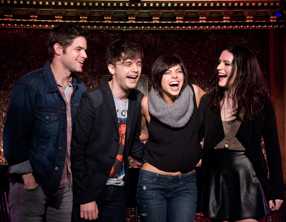 <p>December 6: Jeremy Jordan, Andy Mientus, Krysta Rodriguez, and Carrie Manolakos share a laugh as they preview <em>Hit List</em>, a concert inspired by the fictional musical of the same name within the Broadway-themed NBC television series <em>Smash</em>, at 54 Below.</p><br />(© David Gordon)
