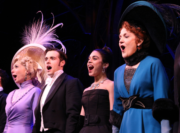 <p>Dee Hoty, Corey Cott, Vanessa Hudgens, and Victoria Clark sing the finale song.</p><br />(© David Gordon)