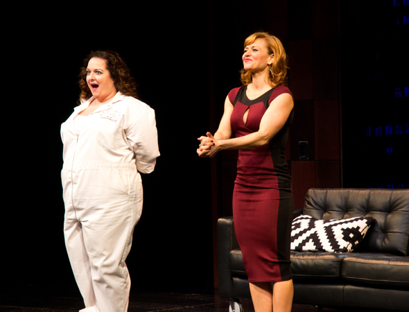 <p>Dierdre Friel and Megan Sikora show their appreciation for the audience.</p><br />(© David Gordon)