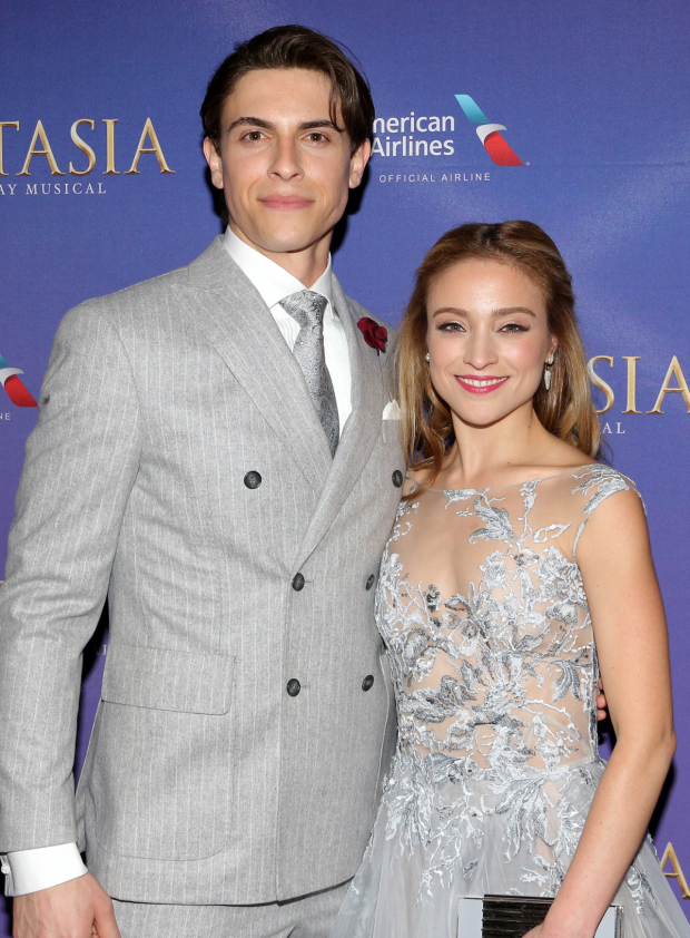 <p>Derek Klena and Christy Altomare celebrate after the show.</p><br />(© David Gordon)