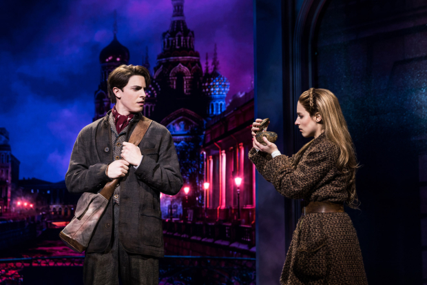 <p>Derek Klena looks on as Christy Altomare examines her music box.</p><br />(© Matthew Murphy)