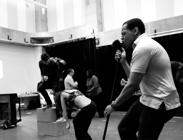 <p>Derrick Baskin and the cast rock out.</p><br />(© David Gordon)