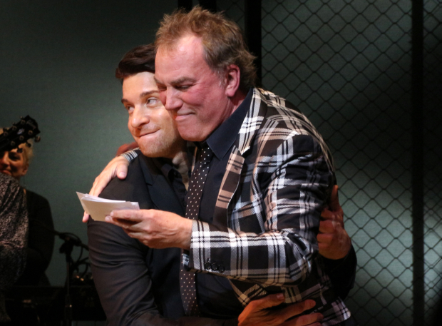 <p>Des McAnuff gets a hug from former Tommy DeVito replacement Andy Karl.</p><br />(© David Gordon)