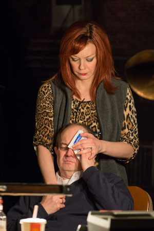 <p>Diana (Mariann Mayberry) comforts her husband, Misha, played by Alan Wilder.</p><br />(© Michael Brosilow)