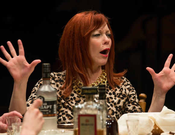 <p>Diana, played by Mariann Mayberry, enjoys a strong Russian drink.</p><br />(© Michael Brosilow)