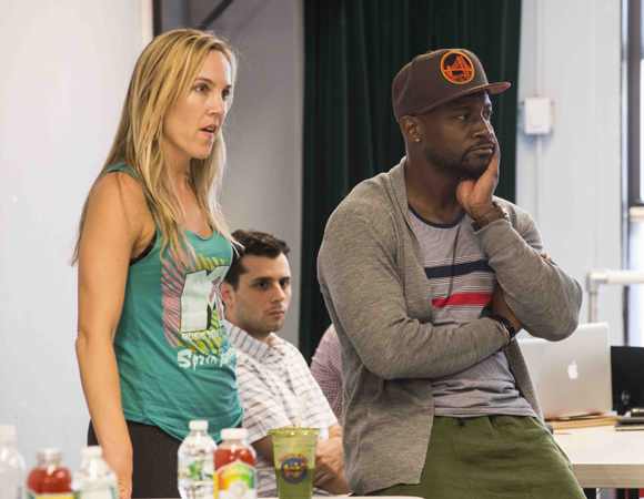 <p>Diggs and associate Jenny Bergold oversee the rehearsal room. </p><br />(© Monica Simoes)