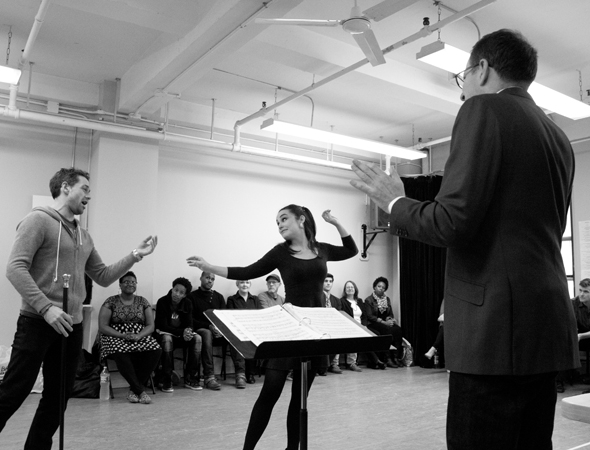 <p>Director and maestro Ted Sperling conducts Julian Ovenden and Lauren Worsham as they rehearse &quot&#x3B;Make Believe.&quot&#x3B;</p><br />(© David Gordon)