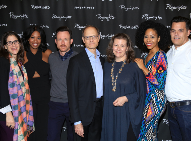 <p>Director Anne Kauffman, Marinda Anderson, Brad Heberlee, David Hyde Pierce, Lynne McCollough, Nedra McClyde, and playwright Adam Bock smile for the cameras.</p><br />(© Tricia Baron)