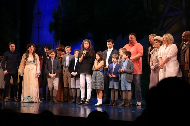 <p>Director Diane Paulus joins the cast and creative team onstage.</p><br />(© Tricia Baron)