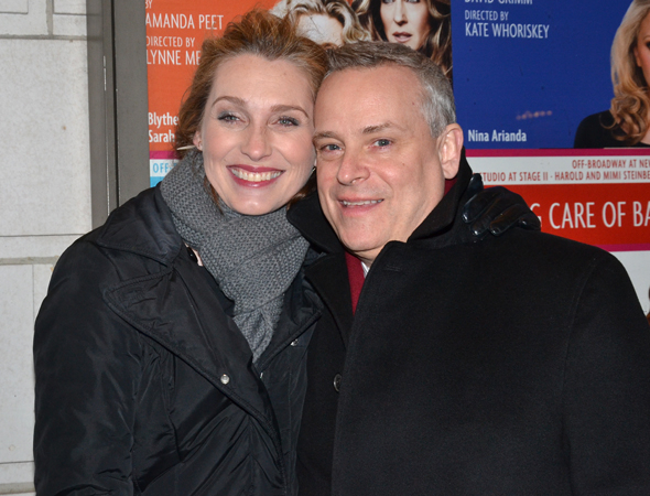 <p>Director Doug Hughes (right) and his longtime girlfriend, actress Kate Jennings Grant, make their way into the Samuel J. Friedman Theatre on a chilly New York night.</p><br />(© David Gordon)
