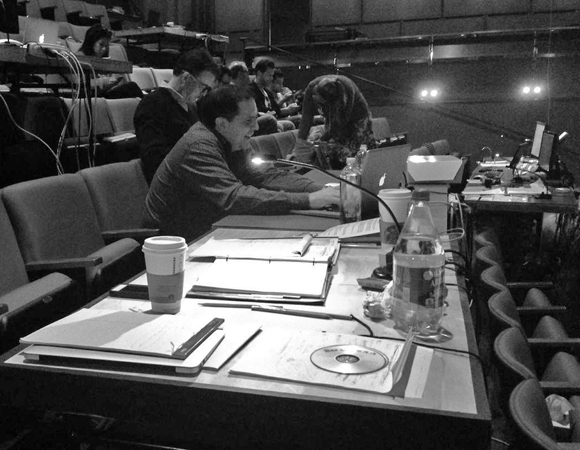 <p>Director John Simpkins hard at work before the first preview. </p><br />(© TheaterMania)