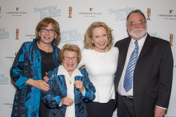 <p>Director Julianne Boyd, Dr. Ruth, Debra Jo Rupp, and playwright Mark St. Germain.</p><br />(© Seth Walters)