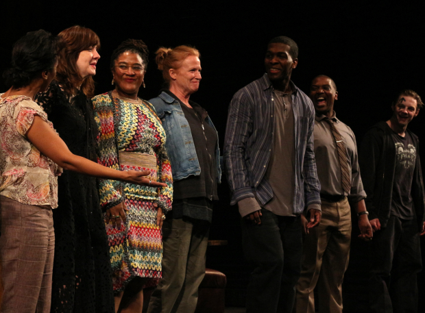 <p>Director Kate Whoriskey and playwright Lynn Nottage come out for their own curtain call.</p><br />(© David Gordon)