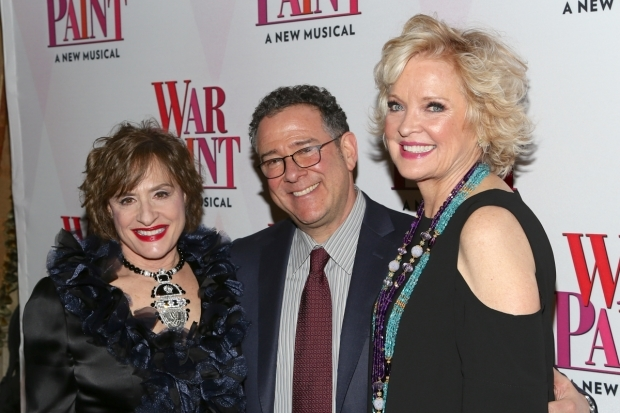 <p>Director Michael Greif takes a photo with his leads Patti LuPone (left) and Christine Ebersole.</p><br />(© Tricia Baron)