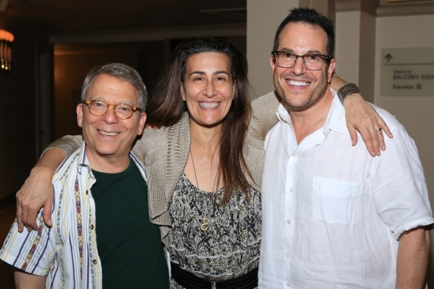 <p>Director Michael Mayer (right) joins Troob and Tesori for a photo.</p><br />(© Tricia Baron)