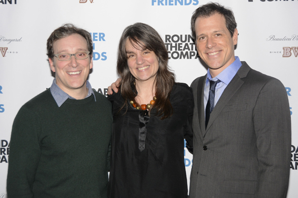 <p>Director Pam MacKinnon celebrates with Jeremy Shamos and Darren Pettie.</p><br />(© Nessie Nankivell)