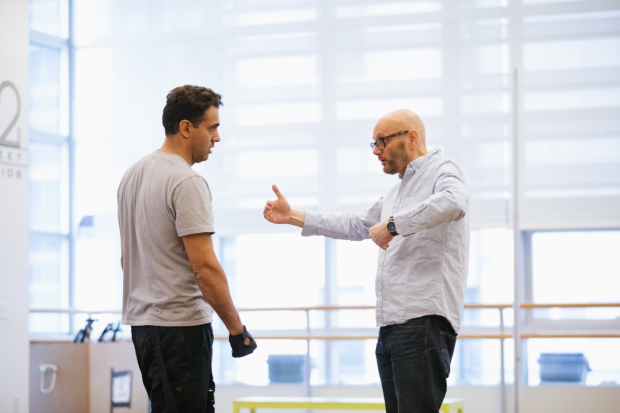 <p>Director Richard Jones (right) works with Bobby Cannavale during rehearsal.</p><br />(© Da Ping Luo)