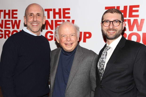 <p>Director Scott Elliott and playwright Wallace Shawn take a photo with New Group executive director Adam Bernstein.</p><br />(© Tricia Baron)