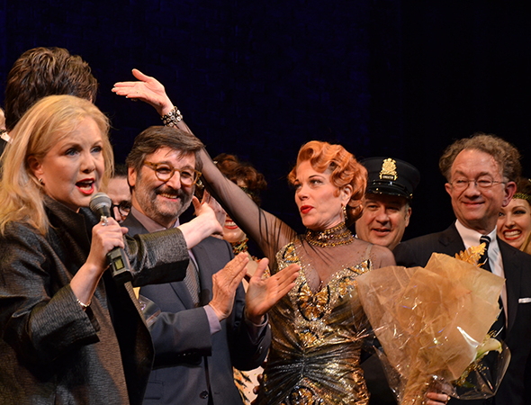 <p>Director Susan Stroman takes the stage to welcome scenic designer Santo Loquasto (second from left) and costume designer William Ivey Long (right).</p><br />(© David Gordon)