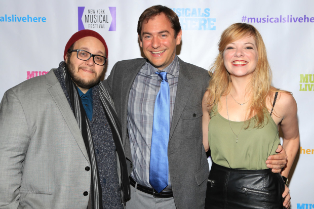 <p>Director West Hyler (center) is flanked by performers Randy Blair and Jillian Louis.</p><br />(© Tricia Baron)