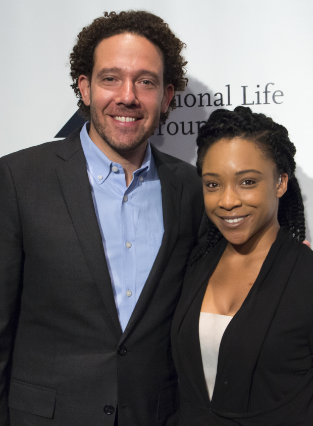 <p>D.J. Kurs and Treshelle Edmond represent <em>Spring Awakening</em> and Deaf West Theatre as it receives the Unique Contribution to the Theater Award.</p><br />(© David Gordon)