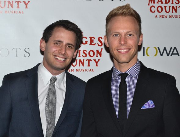 <p><em>Dogfight</em> writers Benj Pasek and Justin Paul are thrilled to cheer on their leading man, <em>Bridges</em> cast member Derek Klena.</p><br />(© David Gordon)