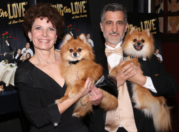 <p>Don&#39&#x3B;t forget about the canine stars of <em>Living on Love</em>, Trixie and her understudy Rocky, who pose with trainers Dorothy and William Berloni.</p><br />(© David Gordon)