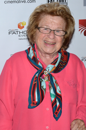 <p>Dr. Ruth Westheimer is thrilled to see <em>Merrily We Roll Along</em> on the big screen.</p><br />(© David Gordon)