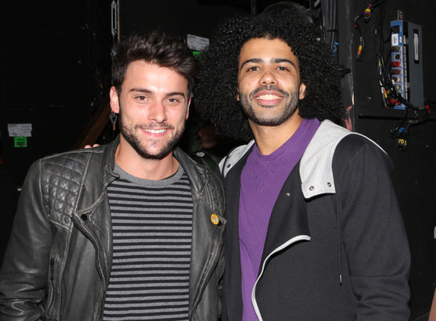 <p>Drama Desk Award winner Daveed Diggs (right) takes a snapshot with <em>How to Get Away With Murder</em> star Jack Falahee.</p><br />(© David Gordon)