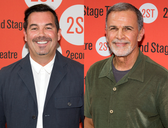 <p>Duncan Sheik (the upcoming Second Stage musical <em>American Psycho</em>) and Tony Plana (<em>The Happiest Song Plays Last</em>) head into the theater.</p><br />(© Seth Walters)