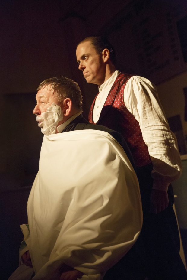 <p>Duncan Smith is ready for a shave as Judge Turpin with Jeremy Secomb as Sweeney Todd.</p><br />(© Joan Marcus)