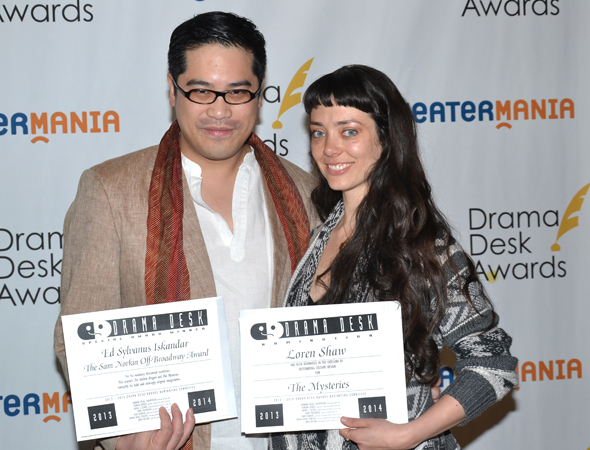 <p>Ed Sylvanus Iskandar, recipient of the Sam Norkin Off-Broadway Award, and Loren Shaw, Outstanding Costume Design nominee for <em>The Mysteries</em>.</p><br />(© David Gordon)