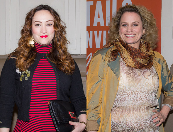 <p>Eden Espinosa and Cady Huffman head into the Booth Theatre.</p><br />(© Seth Walters)