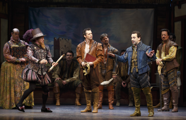 <p>Edward Hibbert (left) joins Grisetti and McClure onstage.</p><br />(© Joan Marcus)