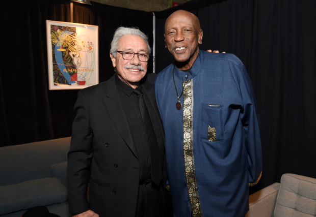 <p>Edward James Olmos and Louis Gossett Jr. made time for each other during the event.</p><br />(© Michael Kovac)