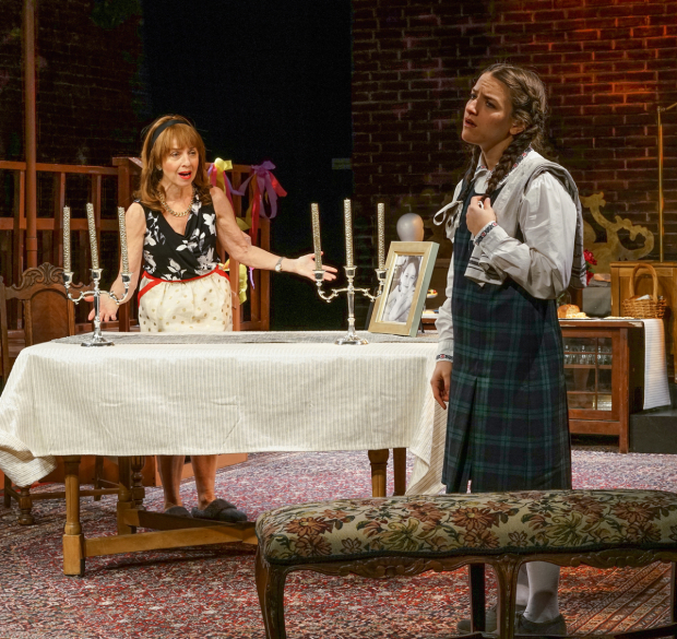 <p>Eleanor Reissa and Shayna Schmidt enact a fraught mother-daughter relationship in <em>God of Vengeance</em>.</p><br />(© Ronald L. Glassman)