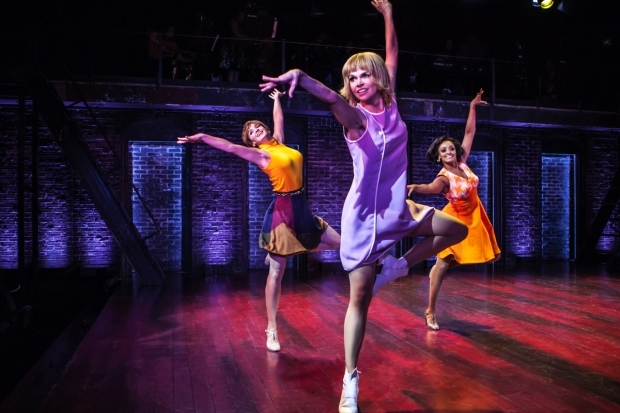 <p>Emily Padgett, Sutton Foster, and Asmeret Ghebremichael dance in <em>Sweet Charity</em>.</p><br />(© Monique Carboni)