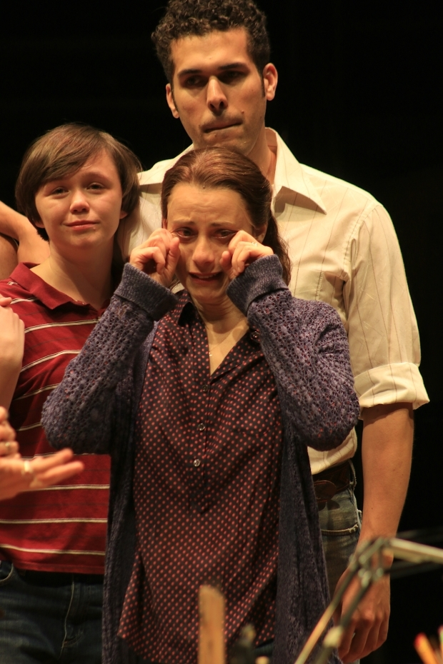 <p>Emily Skeggs, Judy Kuhn, and Joel Perez get emotional as <em>Fun Home</em> ends its Broadway run.</p><br />(© Tricia Baron)