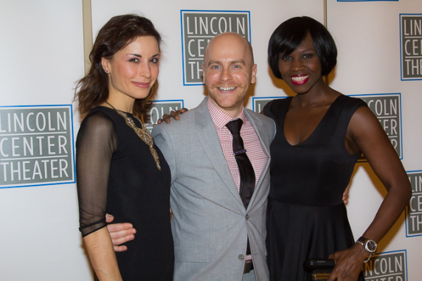 <p>Ensemble members Stephanie Fieger and Shrine Babb pose with Associate Director Benjamin Endsley Klein.</p><br />(© Seth Walters)