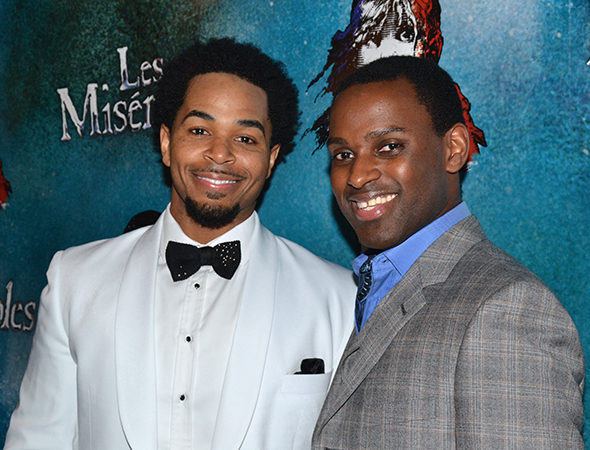 <p>Ensemble men Terance Cedric Reddick and Arbender J. Robinson are thrilled to celebrate their opening night.</p><br />(© David Gordon)