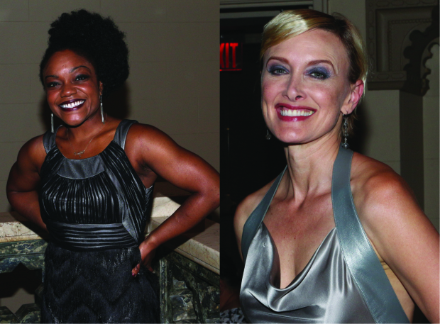 <p>Ensemble players Kenita R. Miller and Rachel De Benedet smile for the cameras.</p><br />(© David Gordon)
