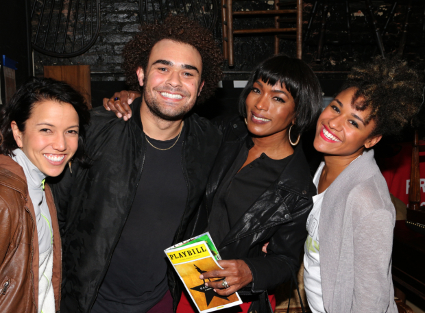 <p>Ensemble players Morgan Marcell, Andrew Chappelle, and Ariana DeBose say hi to Angela Bassett backstage.</p><br />(© David Gordon)