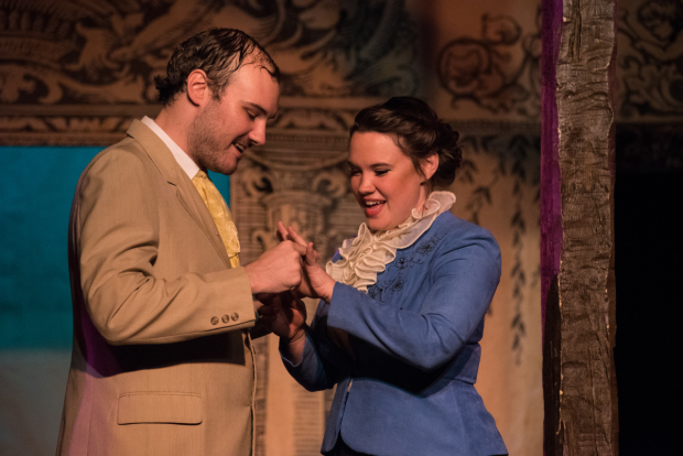 <p>Eric Fletcher as Proteus and Emily Madan as Julia in TP&amp&#x3B;co&#39&#x3B;s <em>The Two Gentlemen of Verona</em>.</p><br />(© Kelly Marsh)