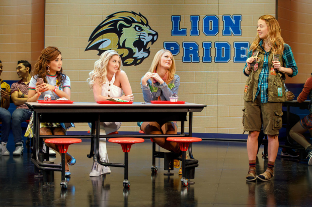 <p>Erika Henningsen (right) is scrutinized by Ashley Park, Taylor Louderman, and Kate Rockwell as she navigates the many tribes of the high school cafeteria.</p><br />(© Joan Marcus)