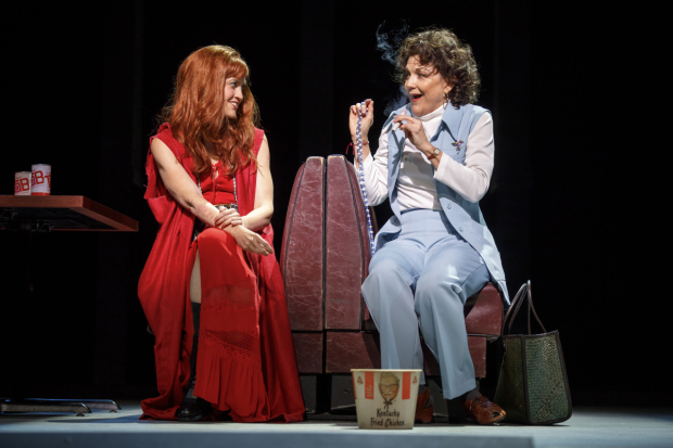 <p>Erin Markey (Lynette &quot&#x3B;Squeaky&quot&#x3B; Fromme) and Victoria Clark (Sara Jane Moore) in Stephen Sondheim and John Weidman&#39&#x3B;s <em>Assassins</em>.</p><br />(© Joan Marcus)