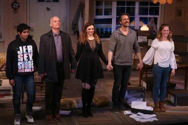 <p>Eshan Bay, Frank Wood, Amber Tamblyn, Darren Pettie, and Ella Dershowitz take a well earned bow at curtain call.</p><br />(© Tricia Baron)