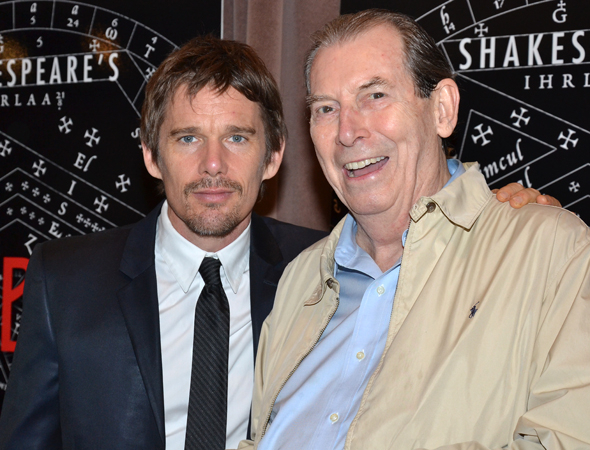<p>Ethan Hawke shares a photo with Richard Easton on the occasion of their sixth production together.</p>